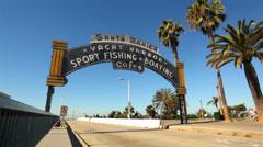 Santa Monica Pier Sign 01 HD - stock footage