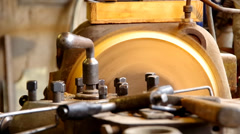 Lathe for wood Stock Footage