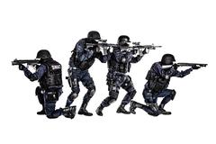 SWAT team in action - stock photo