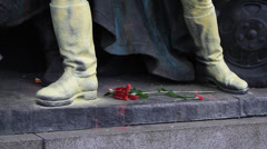 Detail of a Soviet monument in Sofia painted in colours of Ukraine Stock Footage