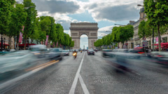 Traffic on the Avenue des Champs-Elysees, time lapse Stock Footage