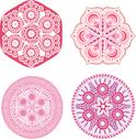 Stock Illustration of indian ornaments, kaleidoscopic floral pattern, mandala. set of four ornament