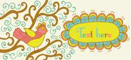 Stock Illustration of retro style banner with bird and frame for your text in autumnal style.vintag