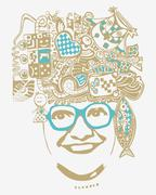 abstract smiling woman in glasses, vector illustration, easy to use - stock illustration