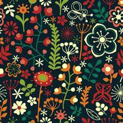 seamless texture with flowers and butterflies. endless floral pattern, colorf - stock illustration