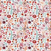 Seamless texture with flowers and butterflies. endless floral pattern, colorf Stock Illustration