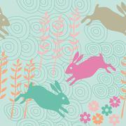 rabbit seamless texture, endless vector illustration - stock illustration