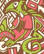 graffiti sketch with dragon - stock illustration