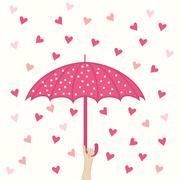 seamless pattern with umbrella and hearts rain - stock illustration