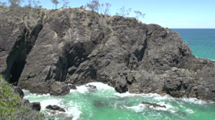 Close up from Hell's Gate in Noosa National Park Stock Footage