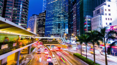 Busy City Night Timelapse. Central. Hong Kong. 4K Tight Shot. Stock Footage