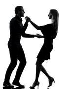 Pari nainen mies tanssii tanssijat salsaa, rock siluetti Kuvituskuvat