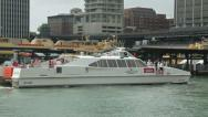Stock Video Footage of captain cook cruises arrives at terminal at circular quay, sydney, australia