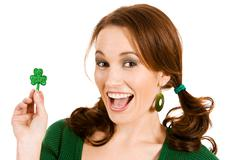 Green: excited about st. patrick's day Stock Photos