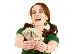 Green: holding money fan of twenties Stock Photos