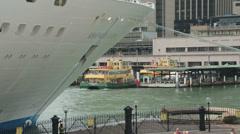 Cruise ship and tourists at circular quay, sydney, australia Stock Footage