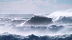 Wind waves  sea spray ocean Stock Footage