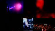 Stock Video Footage of dj,reflector vj lights clubbing party, sexy girls dancing - multiscreen