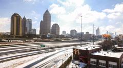 Atlanta Cityscape Time Lapse Snow Stock Footage