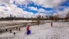 Atlanta Cityscape Time Lapse Snow Park Stock Footage