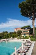 Swimming pool at hotel. italia Stock Photos