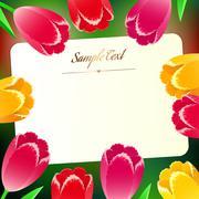 beautiful horizontal rectangular greating card with spring flowers - stock illustration
