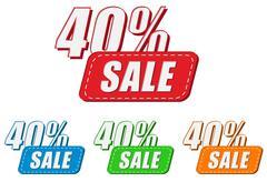 40 percentages sale, four colors labels Stock Illustration