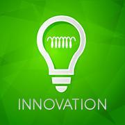 Innovation and light bulb sign over green background, flat design Stock Illustration