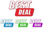 Stock Illustration of best deal, four colors labels