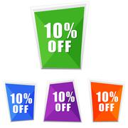 10 percentages off, four colors labels - stock illustration