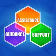 Assistance, support, guidance in hexagons, flat design Stock Illustration