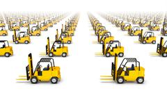 High angle front view of endless Forklifts - stock photo