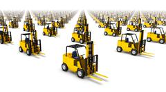 High angled diagonal view of endless Forklifts - stock photo
