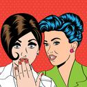 Stock Illustration of two young girlfriends talking, comic art illustration