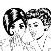Two young girlfriends talking, comic art illustration Stock Illustration