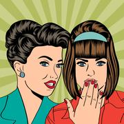 two young girlfriends talking, comic art illustration - stock illustration