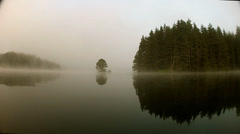 Tree in the middle of a mountain foggy lake Stock Footage
