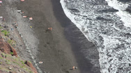 Stock Video Footage of Las Gaviotas beach with volcanic black sand in Tenerife.