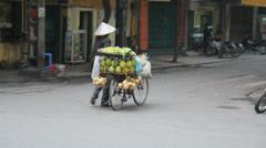 VIETNAMESE WOMAN PUSHING BIKE WTH FRUIT Stock Footage