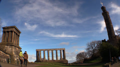 The Scottish National Monument , people walking Stock Footage