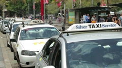 silver taxi service rank, sydney, australia - stock footage