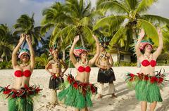 polynesian pacific island tahitian dance group - stock photo
