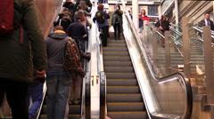Escalator Railway Station rush hour Stock Footage