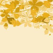 autumnal leaves background - stock illustration