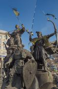 Monument on independence square adorn with national flags of ukraine, kiev Stock Photos