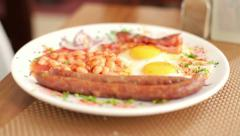 Plate with tasty english breakfast HD Stock Footage