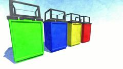 Trash cans for recycling Stock Footage