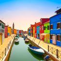 Stock Photo of venice landmark, burano island canal, colorful houses and boats, italy