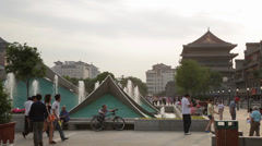 Tourists in the Drum Tower Square Stock Footage