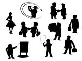 Stock Illustration of set of cartoon silhouettes